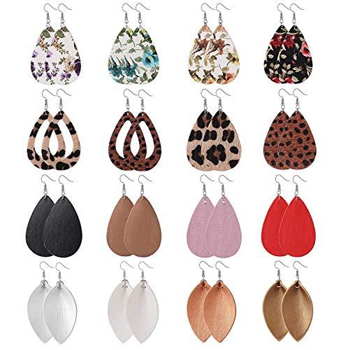 Finrezio 16 Paare Leder Teardrop Leaf Ohrringe Für Frauen Mädchen Gesetzt Leopard Drucken Leicht