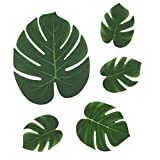 SUNANFBEST 36 Stück Tropische Blätter, Dschungel Deko Palmenblätter Dschungel Strand Thema Party Hochzeit Dekorationen Tischdekoration - 4