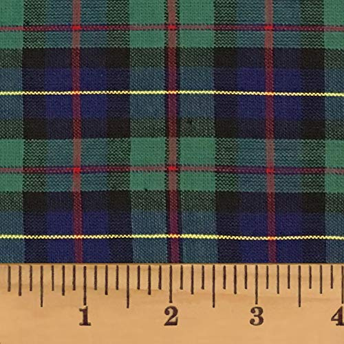 Celtic Blue Green Tartan Plaid Cotton Homespun Fabric by JCS - Sold by The Yard