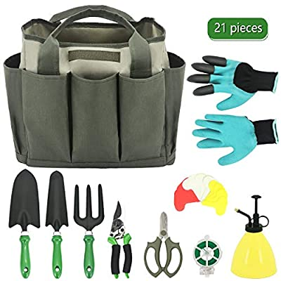 HORTICAN Gardening Tool Set 21 Piece Gardening Kit with Wooden Handle, Include Gardening Bag, Hand Rake Fork Trowel Gardening Accessories,Gardening Gifts Tools for Women