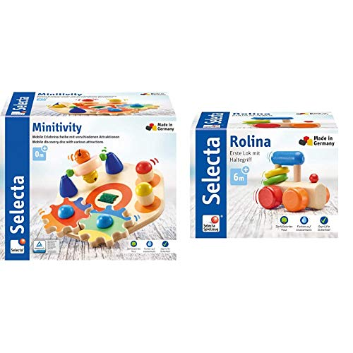 Selecta 62036 Minitivity, Motorikspielzeug aus Holz, 14 cm & 61028 Rolina, Lok-Greifling, 8,5 cm