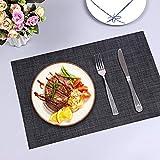 Amazon Brand - Eono Satz von 6 Platzsets, Tischsets PVC Hitzebeständig, Grifffeste Hitzebeständig Platzdeckchen Antifouling und Waschbar - 6