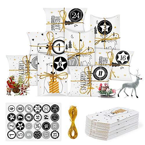 Bluelves Calendario de Adviento, Navidad Cajas de Regalo Pequeñas, Cajas de Almohadas Papel Kraft con Pegatinas Numeración 1-24 para Navidad Fiesta Artesanias Decoración