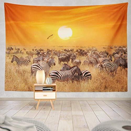 Duanrest Wandteppich,Natur, Wilde Zebras afrikanischer Sonnenuntergang Natur Safari Afrika, Natur Wandteppich für zu Hause 229x152cm
