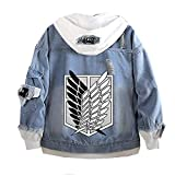 Classic Japanese Anime Attack on Titan AOT Wings of Freedom Denim Hoodie Fashion Casual Denim Jacket (X-Large, Style 3)