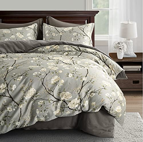 Cottage Bloom Garden Duvet Cover Set French Country Provincial Chic Floral Birds Bedding Peony Blossom Tree Branches (Grey Olive, Queen)