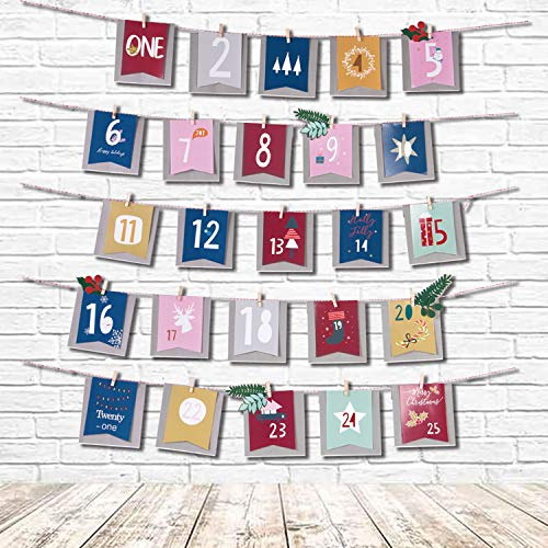 Olgaa Christmas Advent Calendar 25 Days Hanging Christmas Countdown Calendar Garland Gift Bags for Christmas New Year Home Door Wall Decor