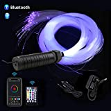 AZIMOM Car Use Bluetooth 6W RGB LED Fiber Optic Lights Star Ceiling Light Kit APP Remote Controller 450pcs 0.03in 6.5ft Optic Cable Music Mode Sensory Lighting Indoor Home Interior Decoration