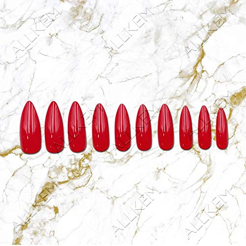 CSCH Faux ongles Hot Red Long Stiletto 24pcs full cover fake nails - Press on False nail Tips 10 sizes Full Coverage