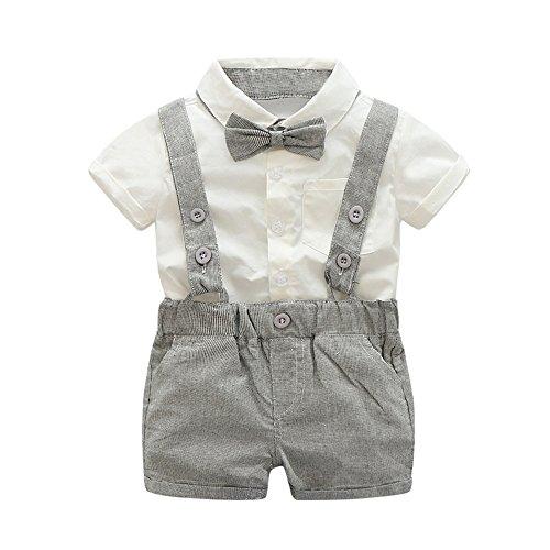 UFODB Baby Suit for Party Gentleman Anzug Boy Sommer Jungen Bekleidungssets Bowtie Hemd + Latzhose Hose Kinder Hosenträger Festliche Hochzeit Für Hochzeitsfest