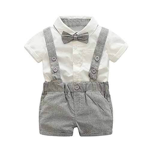 Kinder Baby Jungen Gentleman Bowtie Kurzarm T-Shirt Tops Bluse Basic Shirts Hosenträger Shorts Set Kinderkleidung Bekleidungssets Sommer Anzug Jogginganzug Coole Streetwear (90cm, Grau)