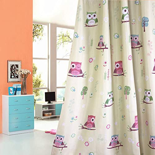 Absolutely Blackout Curtains for Kids Room,2 Layers Lined Curtains for Boys Girls Room,Set of 2 (Palm Green Owl, 2 x 39 x 63 Inch)