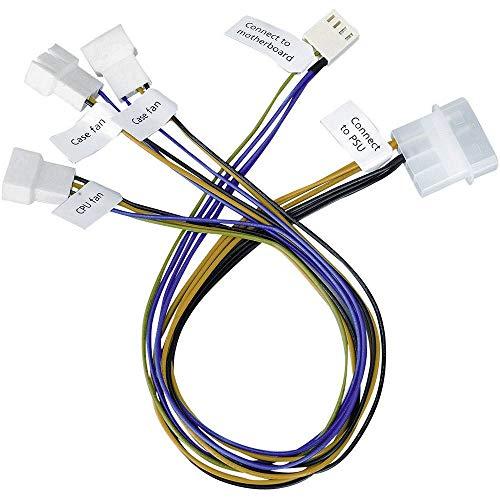 PC-Lüfter Anschlusskabel [3X PC-Lüfter Stecker 3pol, PC-Lüfter Stecker 4pol. - 1x IDE-Strom-Stecker 4pol.] 30.00 cm Ak