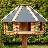 Massives Holz Vogelhaus'Herbstlaub' Futterstation Gartendeko Vogelvilla