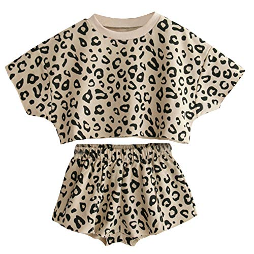 Toddler Baby Girls Leopard Print Summer Clothes Set T-Shirt and Short...