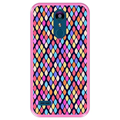 Hapdey Funda Rosa para [ LG K9 - K8 2018 ] diseño [ Patrón Abstracto con Rombos de Colores ] Carcasa Silicona Flexible TPU