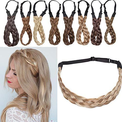 SEGO Bandeau Cheveux Femme Ruban Tressé Serre-Têtes Accessoire Headband Élastique [5 Brins Largeur: 2.5cm] Postiche Synthetique Bande Pièce Stretch Twist Fibres Flexible