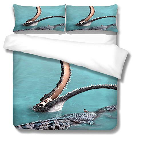 ZZZXX Single Bedding Sets Crocodiles Kids Children Bedding Set Ultra Soft Microfiber Polyester Comforter Cover Set Single Size Printed Duvet Cover Set 3 Pcs 3D Pattern Decorative Bedding Sets,135X200
