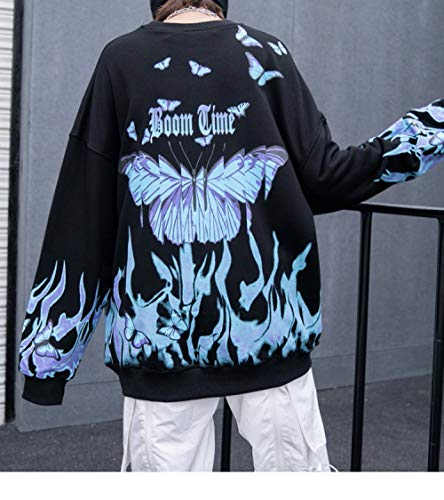 AFASSW Hombres Hip Hop Sudadera Azul Fuego Llama Mariposa Street Ropa Harajuku Pullover algodón otoño 2020...