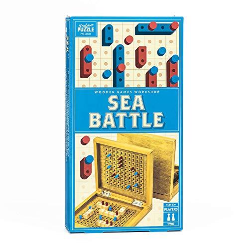 Professor PUZZLE Sea Battle - Una toma de madera en el tradicional juego de mesa de 2 juegos, hunde tus acorazados oponentes - Sea Battle