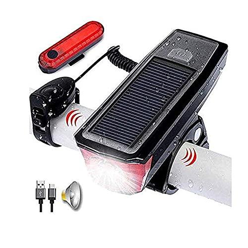 Luces solares para suelo Linternas para exteriores Luz de bicicleta USB Carga solar 350 lúmenes Lámpara de bicicleta de 3 modos Seguridad en la conducción Luz inteligente a prueba de agua Faros delant