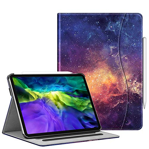 FINTIE Case for iPad Pro 11' 2020/2018 with Pencil Holder - Multi-Angle Viewing Folio Smart Stand Cover [Supports Apple Pencil 2nd Gen Charging Mode] with Pocket, Auto Sleep/Wake, Galaxy
