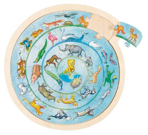 Goki- Puzzles de maderaPuzzles de maderaGOKIPuzzle Circular animalitos, Multicolor (57790)