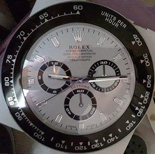 REPLICA Rolex 35 CM da Muro Daytona Ghiera Nera Ceramica Quadrante Bianco Metallo Movimento Silenzioso + 2 CD Audio in Omaggio Made in Italy