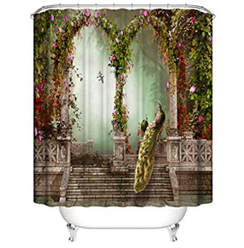 SUGOO Duschvorhang 3D Flower Gate dekorativer Duschvorhang wasserdicht und schimmelresistent Polyester% Haushalt Erwachsene und Kinder 180 * 200cm