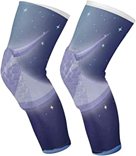 Knee Sleeve Stingray Fish Over Moonlit Background Full Leg Brace Compression Long Sleeves Pant Socks for Running, Jogging, Sports, Crossfit, Basketball, Joint Pain Relief, Men and Women 1 Pair