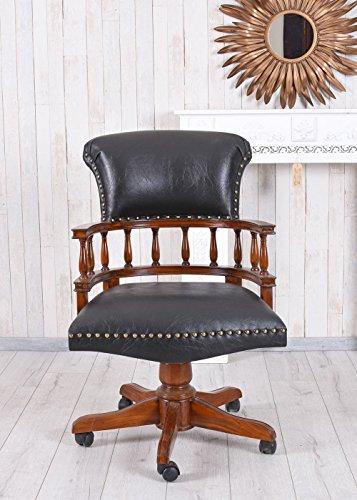 Unbekannt Captains Chair Drehstuhl Antik Bürosessel Ledersessel Bürostuhl auf Rollen Palazzo...