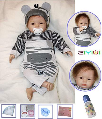 ZIYIUI 22 Zoll Reborn Babys Babypuppen Junge Realistische babypuppe weichkörper Reborn Baby Dolls Magnetisch Mund Kind Geschenke Realistisch Handgemacht Spielzeug (Child Xmas Gifts)