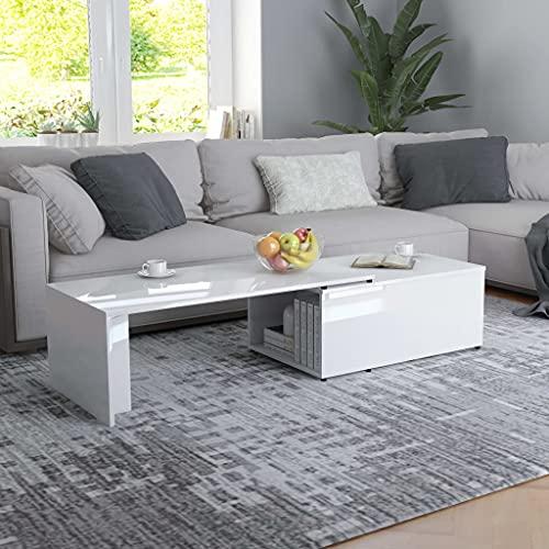 Ksodgun Table Basse de Salon Table d'appoint Blanc Brillant 150x50x35 cm Aggloméré