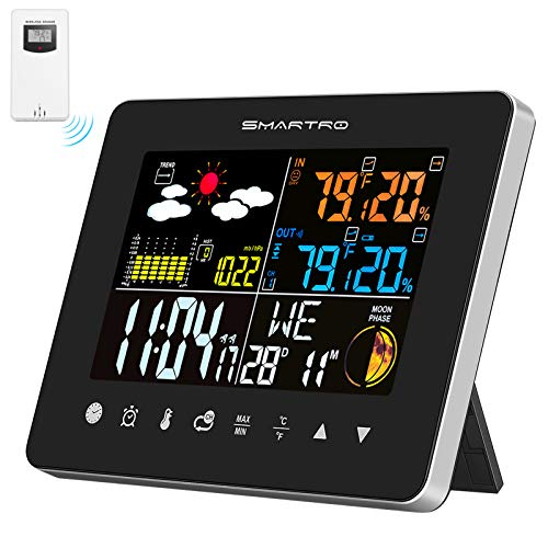 SMARTRO Wireless Indoor Outdoor Thermometer, Weather Station Color Large Display, Room Hygrometer Temperature and Humidity Monitor