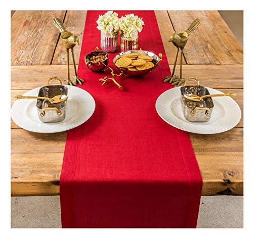 PROVIMO HOME Hemmed Table Runners (14 x 48 Inch, Red)