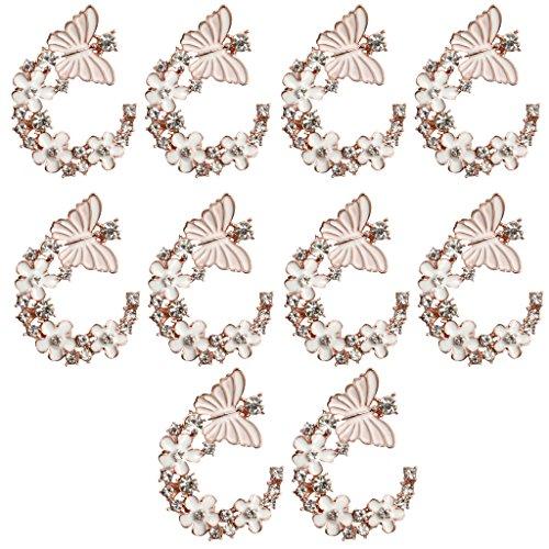 F Fityle 10 3cm Enamel Butterfly&FLOWER Button Crystal Flatback Wedding DIY Bow Craft