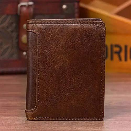 Herenportemonnee leer 13 kaartsleuven rijbewijs drievoudige portemonnee voor mannen bruin voor creditcards, bankbiljetten en munten, bruin (bruin) - TGbeine
