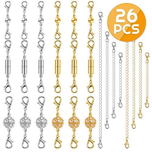 Magnetic Clasps for Necklaces and Bracelets, Anezus 26pcs Bracelet Extender Set Including 18pcs Magnetic Jewelry Clasps and 8pcs Necklace Extenders for Necklaces, Bracelets and Jewelry Making (Silver