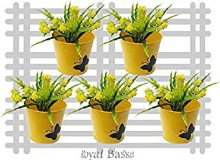 Royal baskets Round Butterfly Railing Planter/Plant pots (Yellow, Pack of 5)…