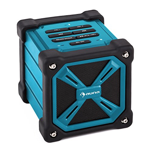 auna - TRK-861, Bluetooth Lautsprecher, mobiler Außenlautsprecher, Gummi-Outdoor-Gehäuse, zuschaltbarer Bass-Boost, LED-Leuchte, spritzwassergeschützt, integriertes Mikrofon, blau