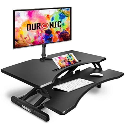 Duronic DM05D17 Estación de Trabajo para Monitor, Mesa Ordenador para Trabajar de Pie y Sentado con Altura Regulable 12-49 cm