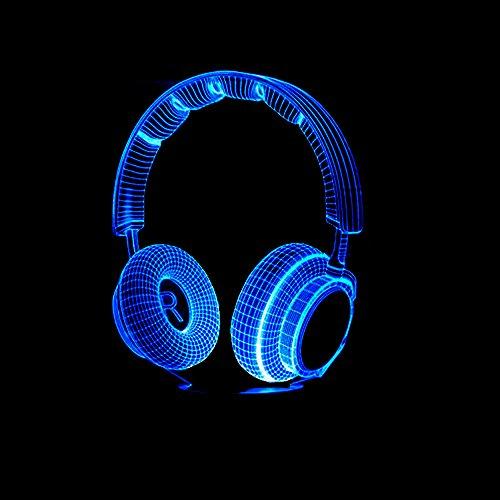 3D DJ Kopfhörer Lampe optische Illusion Nachtlicht, 7 Farbwechsel Touch Switch Tisch Schreibtisch Dekoration Lampen perfekte Weihnachtsgeschenk mit Acryl Flat ABS Base USB Spielzeug