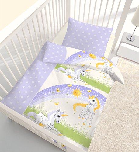 Ido Parure de lit en flanelle pour bébé fille Magic Dream Stars Licorne & Unicorn étoiles Lilas – 100 % coton – Dimensions : 40 x 60 + 100 x 135 cm