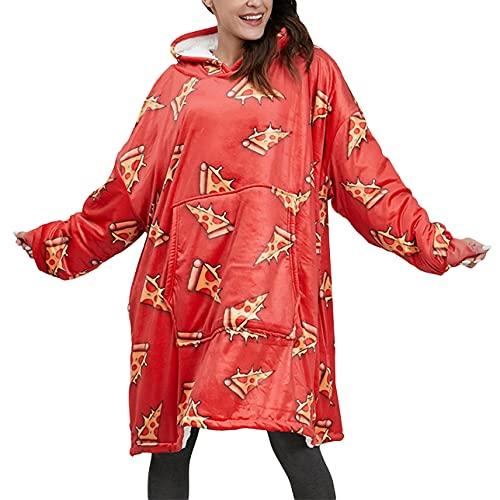 Pabuyafa Sudadera con capucha de gran tamaño con capucha y regalos para mujeres y hombres adultos de doble forro polar de felpa con capucha, Red Cheese, talla única