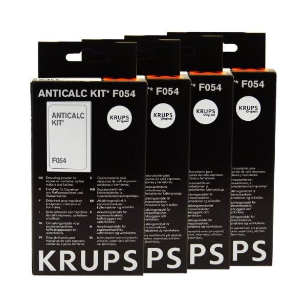 Krups Anti-cal Kit F054, Agente desincrustante Máquinas de café, Accesorios, 4 Piezas