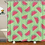 Cortinas de ducha de tela sandía con dibujos animados de frutas y sandía, cortina de ducha para niños y niñas, color rojo y verde baño impermeable con ganchos tiempo de verano, 178 x 172 cm
