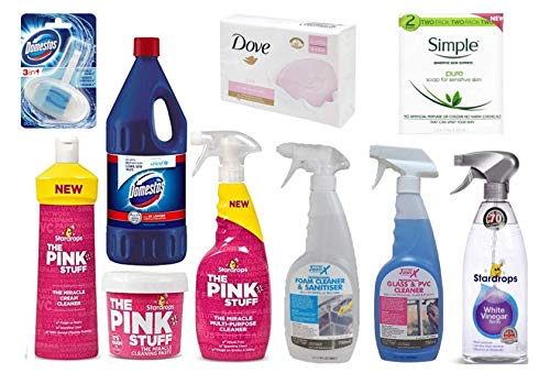 UK Business Supplies 12pc Cleaning Multi-Pack Stardrops,Janit-X, Domestos, Dove, Simple Soap