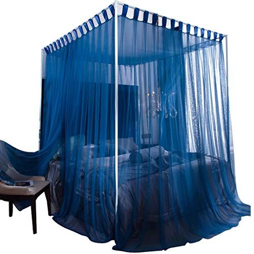 DUOER home Intérieur avec Support 4 Coin Chambre lit Net Couverture de lit Tente de Gaze Trois Porte élégante décoration de Chambre (Gris ou Bleu) Grand moustiquaires