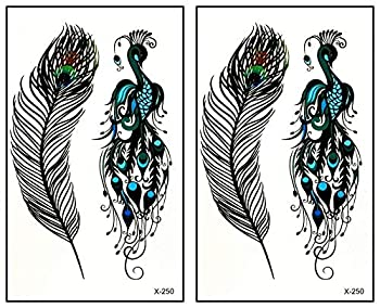 Mini Tattoos 2 Sheets Temporary Tattoos Bird Peacock Feather Fake Tattoos Removable Waterproof Body Art Tattoo Cartoon Stickers Make up Neck Shoulder Upper arm Thigh for Women Teens Girls  14