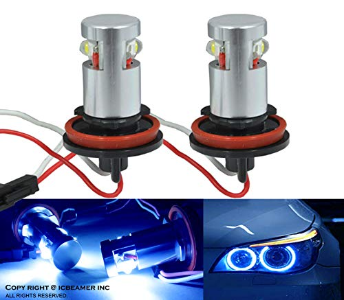 ICBEAMER Fit BMW Angel Eye Halo Ring E92 H8 H11 High Power LED 10000K White Replacement Blue Light Bulbs [Pack of 2 pcs]